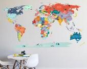 Wall Decal - World Map interactive map  - Wall Sticker Room Decor Map Decor
