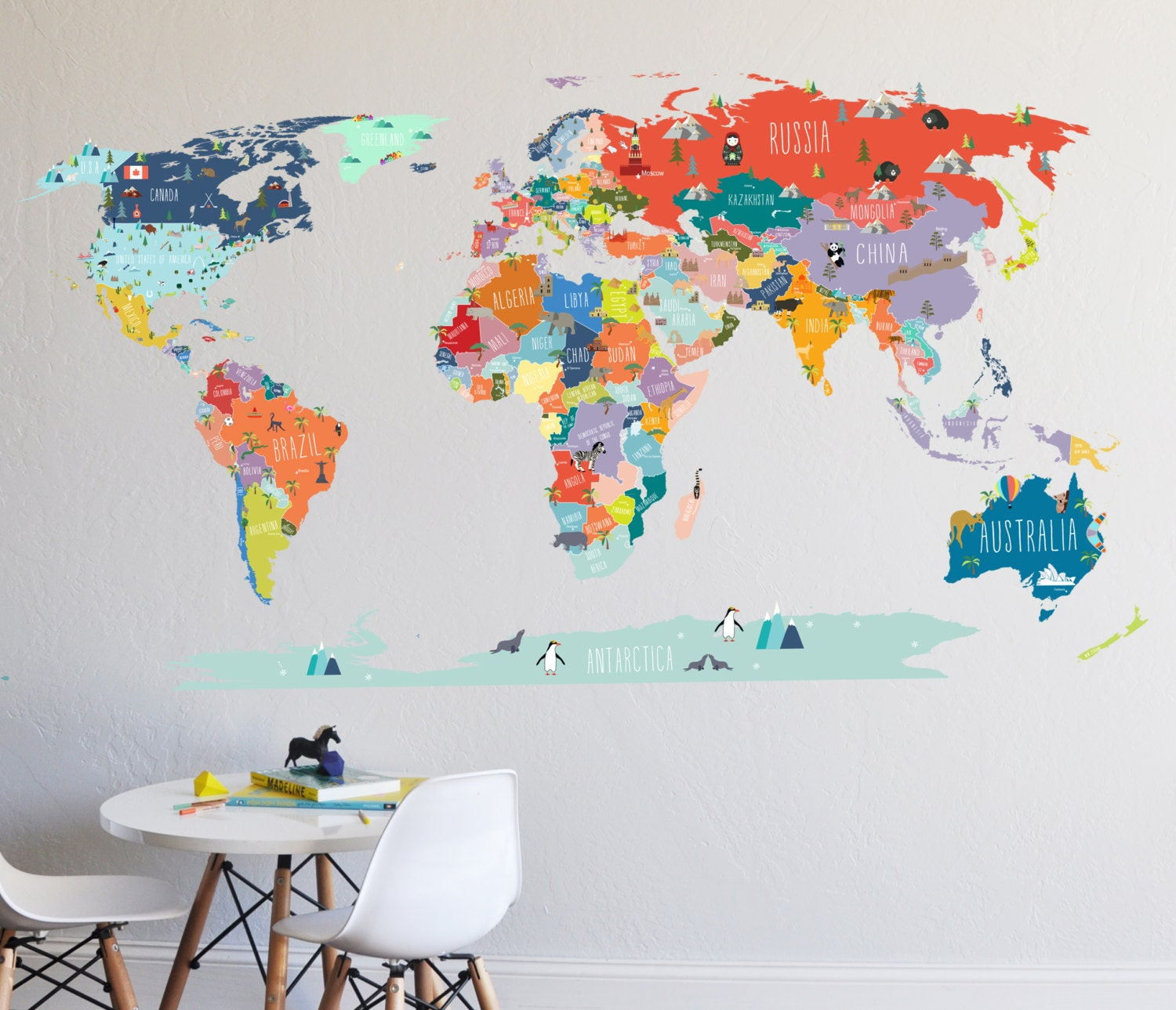 wall decal world map interactive map wall sticker room zoom