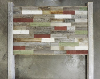 """Reclaimed Wood """"Rustic Retreat"""" Headboard w/ LEGS for King Bed made with Rustic Barn Wood. Your Choice of Accent Colors"""