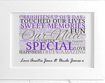Personalised Niece Framed Word Art