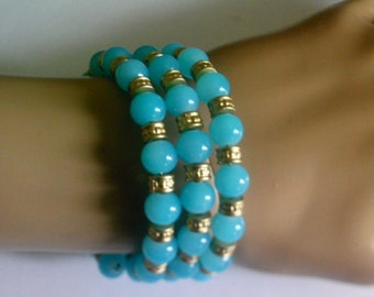 Elegant Coil Bracelet Cuff Bracelet w Capri Blue Jade Beads & Etched Matte Gold Spacer Beads, One Size, Free Shipping