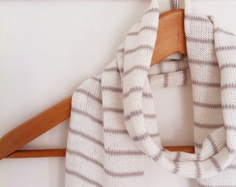 Striped cotton scarf, knitted scarf, grey and white scarf, nautical, spring scarf, striped scarf, handmade scarf