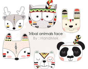 Tribal animals faces , Woodland Clipart ,Animals clipart Instant Download PNG file - 300 dpi