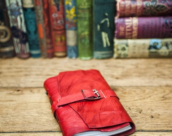 Leather Travel Journal with patchwork design
