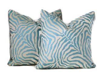 Zebra Print Pillow Cover- Blue Zebra Print-Blue and Ivory Zebra Print-Modern Animal Print Pillow Cover