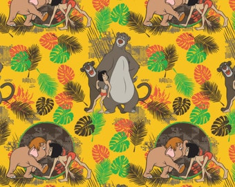 Disney Fabric Jungle Book Fabric Friends in Gold Fabric From Camelot
