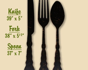 Fork And Spoon Decor Fork Wall Decor Farmhouse Home Decor Large Fork And Spoon  Spoon Wall