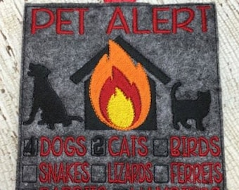 5 x 7 Only - Pet Alert - EMERGENCY Contact -  In the Hoop Sign - Embroidery Design -   DIGITAL Embroidery DESIGN
