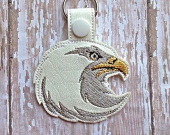 Eagle - Eagle Head - Mascot - In The Hoop - Snap/Rivet Key Fob - DIGITAL EMBROIDERY DESIGN