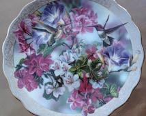 Hummingbirds Floral Plate, Hummingbirds Gift Plate, Hummingbirds Decorative Plate, Morning Glory Plate, Hummingbird Lover Gift