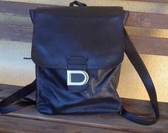 Black Leather Backpack, Designer Backpack, DKNY backpack, Black DKNY Bag, Vintage Backpack, Black Backpack, Retro Backpack, Donna Karen Bag
