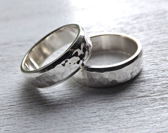 silver wedding bands, commitment bands, hammered wedding rings silver, mens wedding band, silver wedding ring set, unique ring set handmade