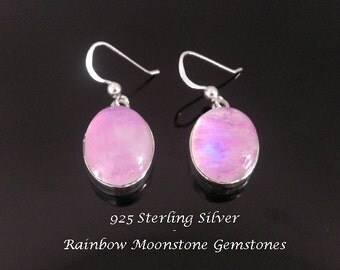 Earrings: Sterling Silver Earrings with Large Rainbow Moonstone Gemstones | 925 Silver Earrings 034 | Matches Harmony Ball Necklace 732