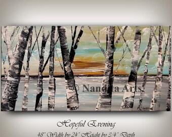 Painting, Aspen Tree Painting, Birch Tree Art, Autumn Birch Forest Painting Wall Art, Sunset Scenery Ready to Hang, Art by Nandita Arts