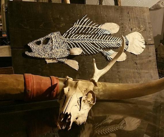 Fish skeleton string art nautical fishing theme for Fish string art