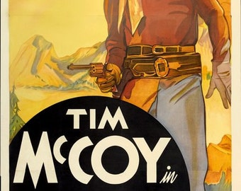 """11 x 14"""" canvas art print~ cowboy western movie poster 1930s Tim McCoy, Square Shooter"""