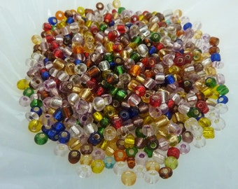50g Colour Mix Silver Lined Glass Seed Beads Size 6/0 4mm