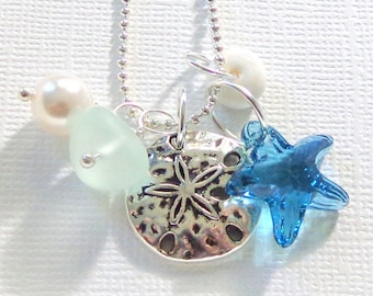 Starfish Sand Dollar  Sea Glass Necklace  Summer Beach Love