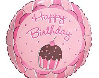 Pink and Brown 18 inch cupcake themed mylar/foil balloon (1) per pkg
