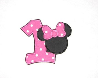 Minnie Mouse Ears Birthday Number 1 Iron on No Sew DIY Embroidered Patch Applique