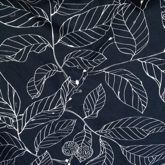1 1 3 yards ikea stockholm navy blue leaves fabric 100 cotton. Black Bedroom Furniture Sets. Home Design Ideas