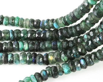Green Labradorite Rondells, Emerald Green Faceted Gems, 6mm to 7mm, Quarter Strand or Half Strand, Rondells, Emerald Green Gems KJ