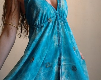 Long been boho d blue cotton dress