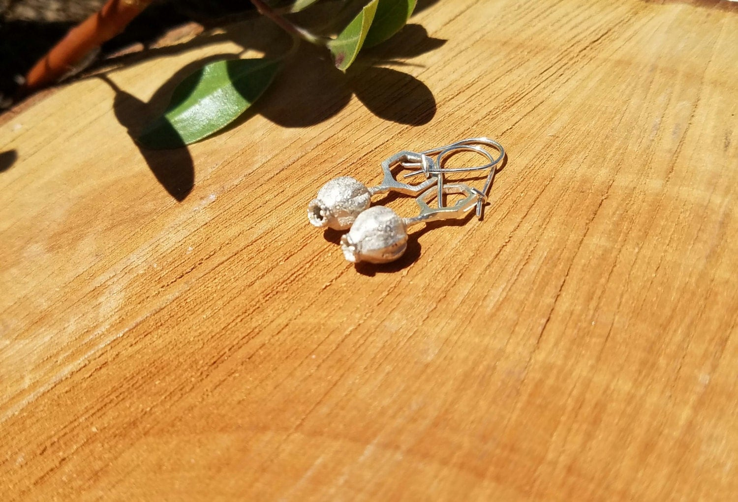 Pacific Madrone Flower Hexagon Earrings - Northern California Forest Art Jewelry in Recycled Sterling Silver