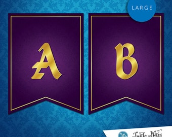 Large Sleeping Beauty Purple Banner :  Printable Banner All Letters 0-9 numbers