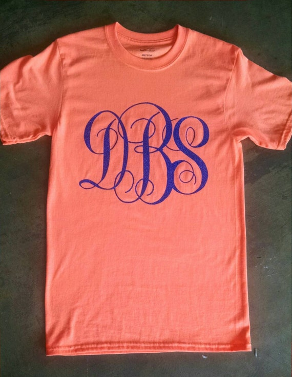 Large Initial Monogrammed T Shirt Glitter Or By