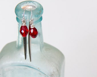 Fork tine earrings, Spike earrings, Czech red crystal charms, vintage upcycled jewellery, Modern earrings
