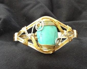 Wirework bracelet , handmade wirework cuff, turquoise wirework bracelet