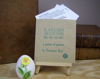 Poems. Garden Seasons. A packet of poems. Handmade. Lovely small gift.