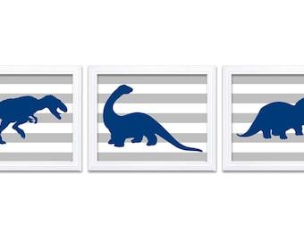 Dinosaur Nursery Art Dinosaur Prints Set of 3 Navy Blue Grey Stripes Tyrannosaurus Rex Triceratops Brachiosaurus Baby Boy Wall Decor