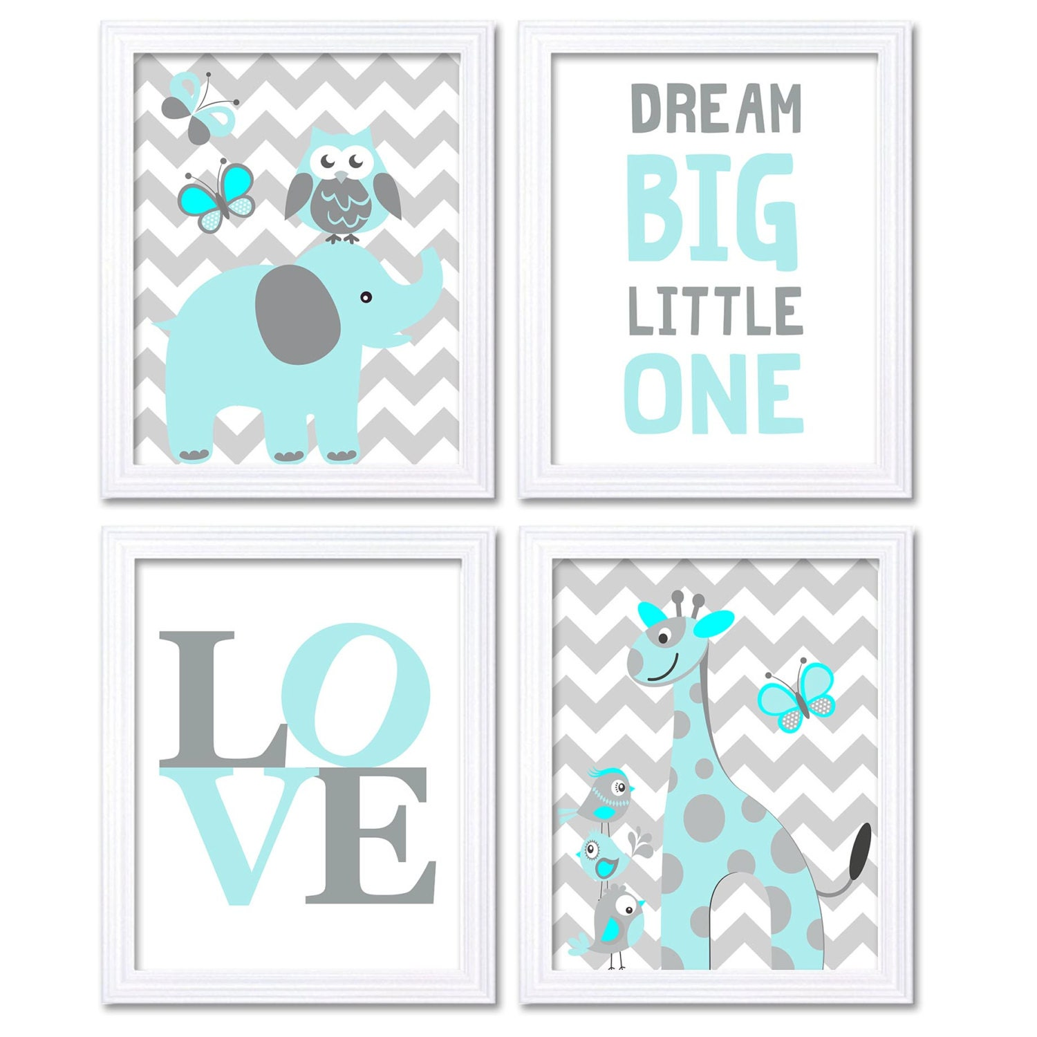 Blue Turquoise Aqua Elephant Giraffe Owl Nursery Art Dream Big Little One LOVE Set of 4 Prints Chevr