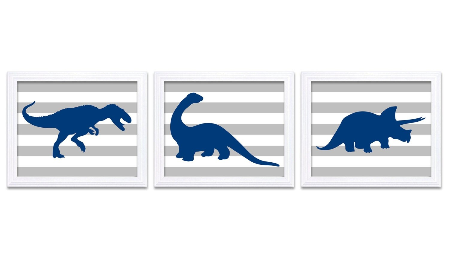 Dinosaur Nursery Art Dinosaur Prints Set of 3 Navy Blue Grey Stripes Tyrannosaurus Rex Triceratops B