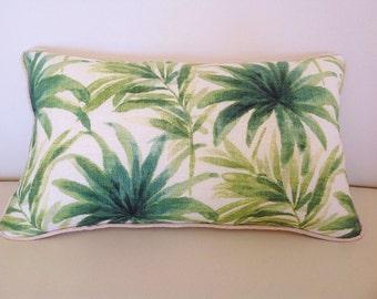 Linen Pillows Linen Cushions Balmy Days Green Tropical Cushion Cover Blue Cushions Linen Pillows Toss Pillows Cushions. Beach House Cushions