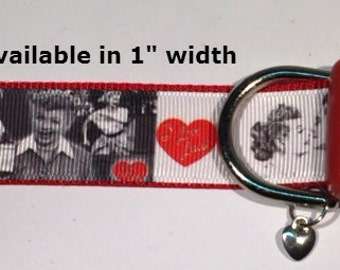 I love Lucy adjustable dog collar with heart Charm