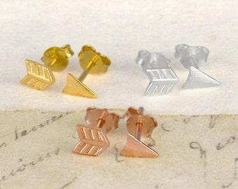 Arrow Stud Earrings, Silver Studs, Split Studs, Rose Gold Earrings, Gold Double Piercing Studs, Minimal Earrings, Boho Studs, Simple Earring