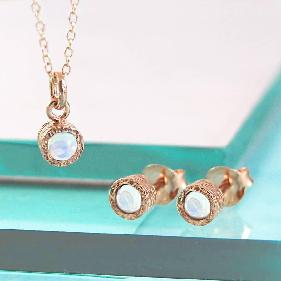 rose gold jewelry set opal gemstone set gold gift set rose. Black Bedroom Furniture Sets. Home Design Ideas