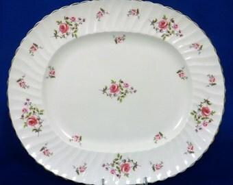 Adderley Oval Serving Platter Fragrance Pattern Fine Bone China England Vintage