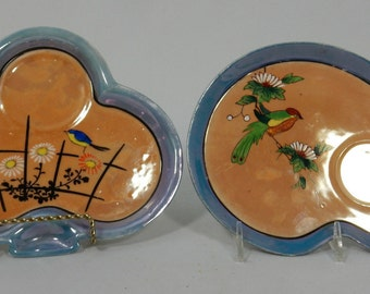 Vintage Pair of Saucers Hand Painted Japan Kidney and Club Shaped Birds Design