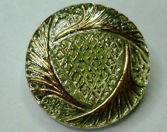 Czech Glass Button 27mm - hand painted - lime green, gold, uranium/vaseline glass (B27133)