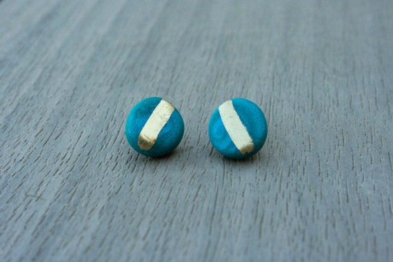 Teal Round Clay Studs // Gold or Sterling Silver // Bridesmaid // Gifts for Her // Stocking Stuffer