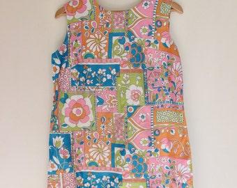 vintage 60s pink blue green floral mod shift dress size 12
