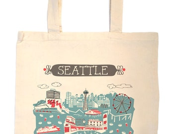 Seattle Tote Bag-City Tote-City Bag-KC-Any City Tote-Blue-Red-Grey--Personalized-Custom City Tote Bag