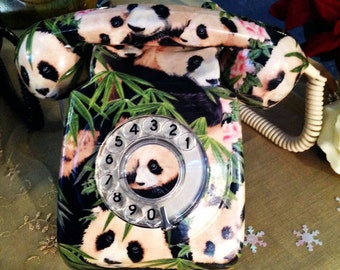 SALE - Panda Telephone  - Fully Functioning Genuine 700 series GPO Phone - Hand Decorated With Cotton Fabric
