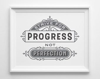 Inspirational Print, Strive For Progress Not Perfection Print, Fitness Motivational Print, Typography Print, Exercise Workout Room Decor