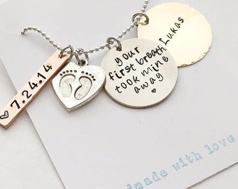 Hand stamped MOM necklace, your first breath took mine away, birth gift, new mom