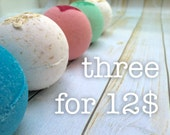 Three Bath Bombs for Twelve Dollars, Set of Bath Fizzies, Three Shea and Cocoa Butter Bath Bombs of Your Choice